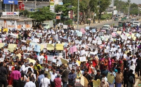 Sri Lanka- Parts of North shuts down, protest in Kilinochchi