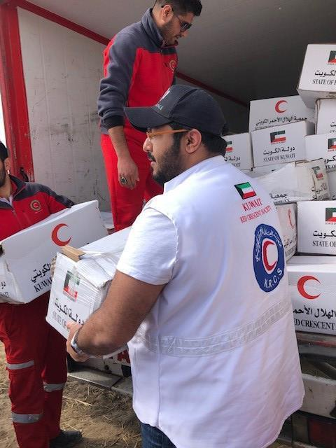 Kuwait- KRCS distributes aid to affected people in Iran's