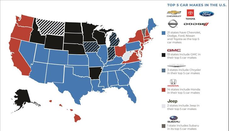 New Data From Dms Auto Insights Spotlights Top Car Makes By State
