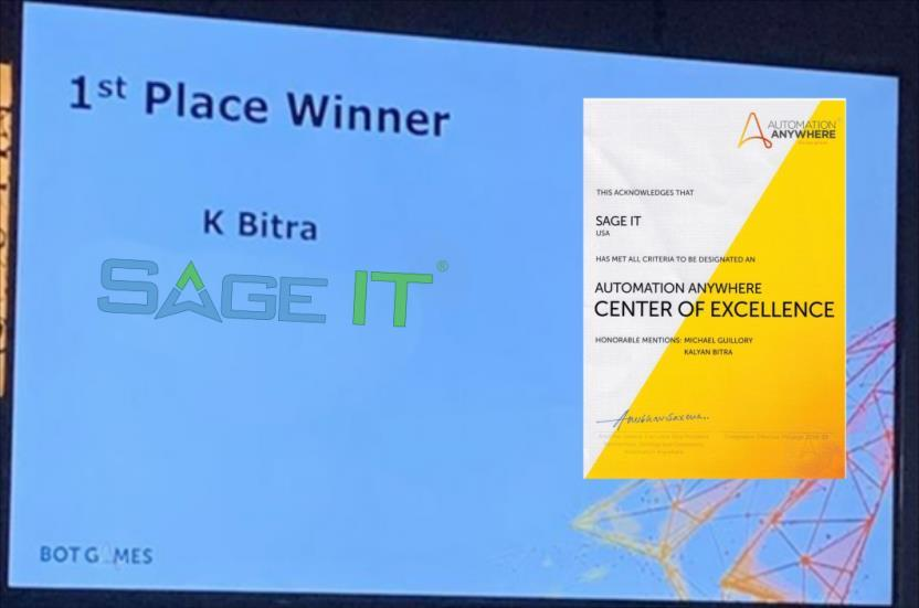 Sage IT Wins Automation Anywhere's IQ Bot Competition | MENAFN COM