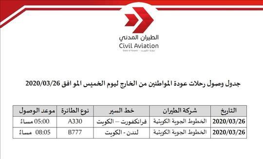 الطيران المدني الكويتية تسير غدا رحلتين لإجلاء مواطنين من ألمانيا